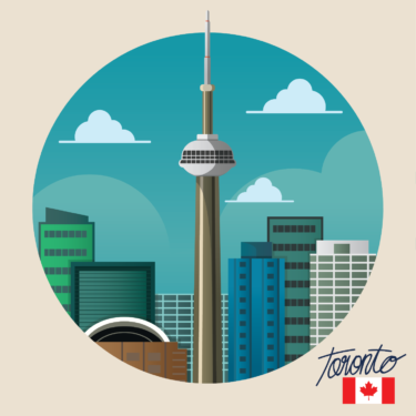 A graphic of the CN tower